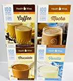 Healthwise - Chocolate, Vanilla, Mocha, Coffee 100 Calorie Pudding Shake Meal Replacement high Protein Diet Bundle (28 Servings) - | Healthy Nutritious|, Low Calorie, Low Fat, Low Carb, Low Sugar