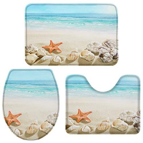 3-Piece Bath Rug and Mat Sets, Coastal Beach Clear Water Non-Slip Bathroom Decor Doormat Runner Rugs, U-Shaped Toilet Floor Mats, Toilet Seat Cover Seashell Starfish