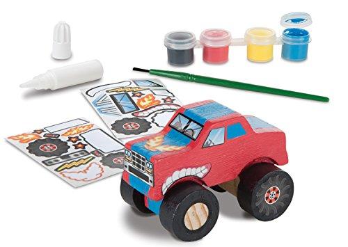 Melissa & Doug Created by Me! Kit de travaux manuels de monster truck en bois (27 autocollants, peinture et colle)