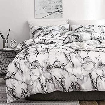 TIFFICO Duvet Cover Queen Set - 90x90 Luxury Microfiber Soft Lightweight Duvet Quilt Covers with Zip Ties - 3 Piece (1 Double Cover, 2 Bed Pillowcase Without Sheet) for Women Men, White Grey Marble