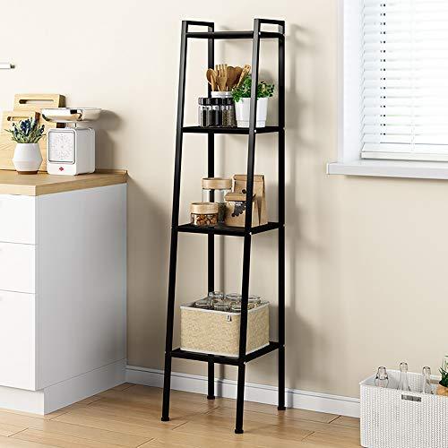 DlandHome 4 Ebenen Standregal, Bücherregale 30x36x147CM, Multifunktionale Leiter Regal Metall für den Rahmen, für Wohnzimmer, Schlafzimmer, Küche,Schwarz