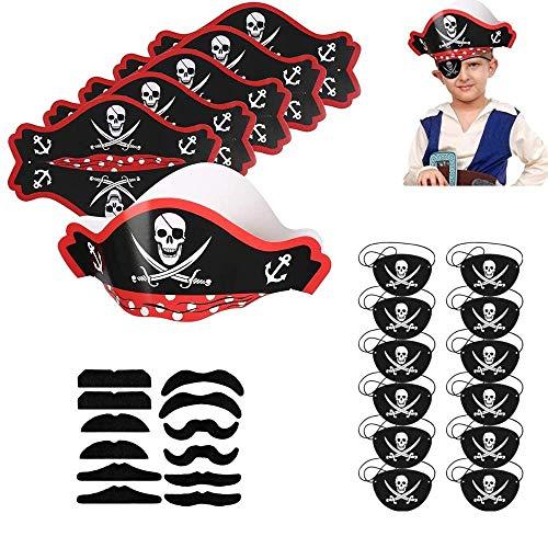 Heatigo Piraten Zubehör Set 30stk Kinder Piratenhut Pirat Filz Augenklappe Moustache Self-Adhesive for Children Pirates Birthday Party Party