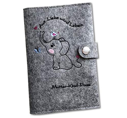 """Mutter-Kind-Passhülle (Österreich)""""Elefant"""" aus 100% Wollfilz, Made in Germany, mit extra Innenfächern und Verschluss"""