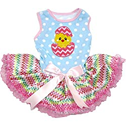 Easter Outfits For Dogs - Blue and pink puppy dog dress with tutu and pink bow.