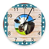 Reloj silencioso de 10 pulgadas para decoración de pared, relojes de madera vintage que no hacen tictac, fáciles de leer para oficina / cocina / dormitorio / sala de estar / aula, vaca del día de la i