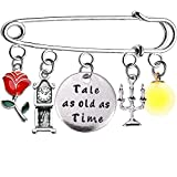 A Tale As Old As Time Beauty And The Beast Charm Kaychain Gift Belle Jewelry for Girls (silver pin)