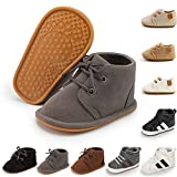 BiBeGoi Infant Baby Boys Girls High Tops Ankle Sneakers Soft Anti-Slip Sole Lace-up PU Leather Moccasins Toddler Newborn Prewalker First Walking Crib Shoes