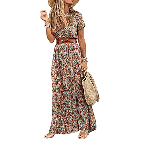 Carolilly Strandkleid Damen Sommer Maxikleid V-Ausschnitt Boho Kleid Damen Sommerkleid Blumendruck Kleid für Frauen (Braun D, L)