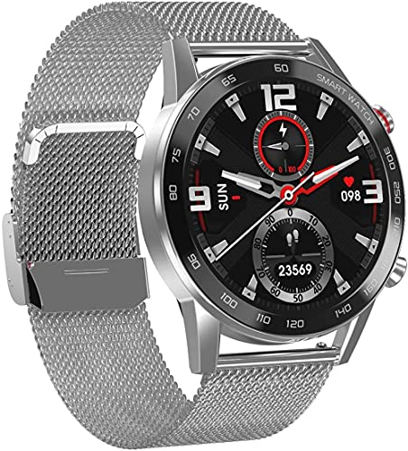 reloj inteligente hombres señoras pulsera reloj inteligente impermeable IP68 deportes podómetro super largo continuación-correa de acero plata