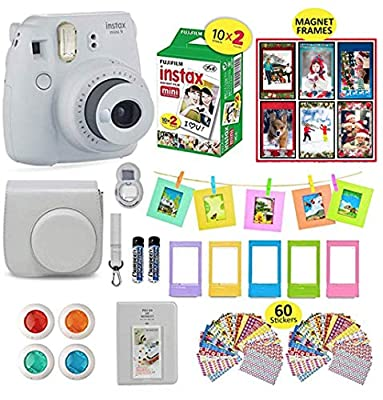 Fujifilm Instax Mini 9 Camera Smokey White Instax Camera Bundle + 20 Instant Film Sheets, Instax Case + 14 PC Instax Accessories Bundle, Fuji Instax Mini 9 Gift Kit, 2 Albums, 4 Lenses, 5 Desk Frames from fujifiln instax mini 9 accessories bundle
