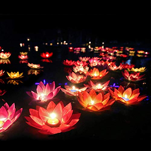 Toner Depot Water Floating Candle Lanterns Outdoor Lanterns for Praying - Set of 15 Floating Lotus Lights Wishing Water Lily Candles Light Decorative Floating Candles Lantern