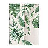 Oumefar Grüne Blätter im japanischen Stil Bedruckt Kindertür Vorhang Raumteiler Vorhang Jalousie für Schlafzimmer Kinderzimmer Dekoration 85 * 120CM