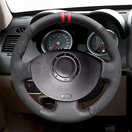 HCDSWSN Cuero Negro de Microfibra Funda para Volante de Gamuza Negra para Renault Megane 2 2003