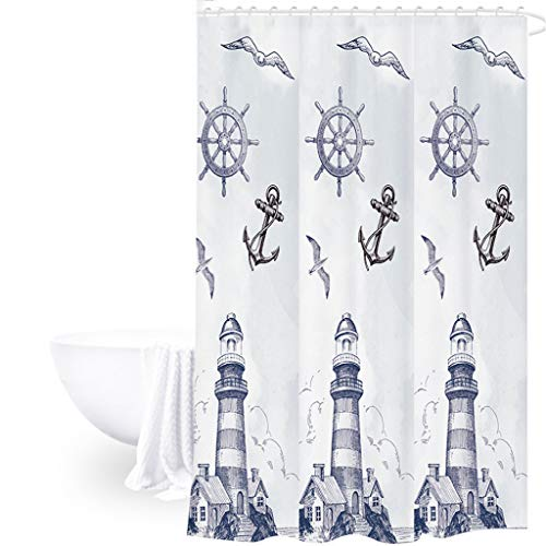 Bilinli 180x180cm Nordic Style PEVA Moldproof Waterproof Thickened Shower Curtain Cartoon Flamingo Lighthouse Reindeer Printed Bathroom Product
