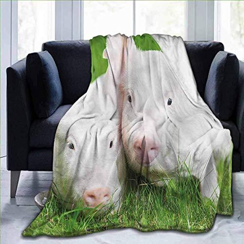 KENDIA Manta de Franela Suave Lindo, Granero de cría de Animales de Granja de Cerdos, Mantas para bebé