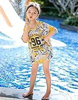 水着 3点セット 日焼け防止 UVカット キッズ 女の子 スクール水着 紫外線カット 水遊び 学校用 プール 練習用 温泉 イエロー (XL)