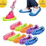 ✓【MULTIFUNCTION】 Perfect for dust, dirt, and pet hair, this dust mop slippers is a great time saver. simply wash and reuse over and over. Color Green, Blue, Purple, Pink, Orange. Different color is not the same mood. ✓【High Quality Materials】Chenille...