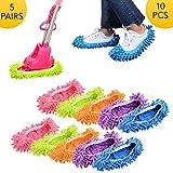 WIKEA waschbar mikrofaser Wiederverwendbare Staub mopp Hausschuhe Schuhe Abdeckung für hausfrauen Frauen 10 stück (5 Pairs)