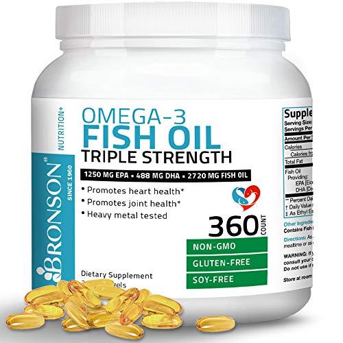 Omega 3 Fish Oil Triple Strength 2720 mg - High EPA 1250 mg DHA 488 mg - Heavy Metal Tested - Non GMO - 360 Softgels