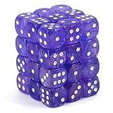 Chessex Borealis 12mm d6 Purple/White Luminary Dice Block (36 dice) (27977)