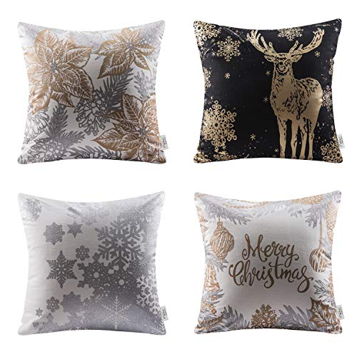 Ashler Merry Christmas Throw Pillow Covers Winter Decorative 18 X 18 Inch Set of 4, Pillowcases Cotton Golden Leaf Reindeer & Snow Series Cushion Covers
