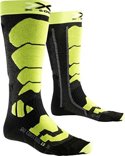 X-Socks Ski Control 2.0, Calze Uomo, Antracite/Verde Lime, 45/47