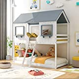 Low Bunk Beds Wood Twin Over Twin Bunk Bed House Bed Frame with Roof Kids Bedroom Furniture House Bed for Kids and Toddlers, White