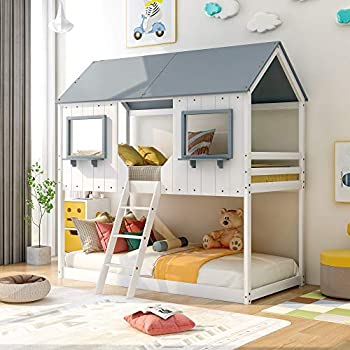 Low Bunk Beds Wood Twin Over Twin Bunk Bed House Bed Frame with Roof Kids Bedroom Furniture House Bed for Kids and Toddlers White