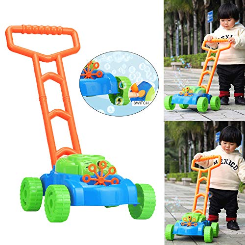 Voberry Bubble Machine, Bubble Lawn Mower - Electronic Bubble Blower Machine - Fun Bubbles Blowing Push Toys for Kids - Best Birthday Gift for Boys, Girls, Toddlers (Colorful)