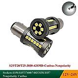 2 bombillas LED SMD 382 (P21W) 42 x 3030 de 5500 K color blanco.