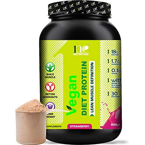 1ne Nutrition Vegan Diet Protein Powder Shake 908g Shakes Meal Replacement Lose Weight Loss Slim Keto Diet Shake Plant Based Shakes (Strawberry)