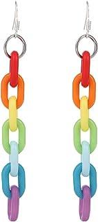 Chain Earrings Rainbow Resin Acrylic Earrings Cool Weird Transparent Color Earrings for Women Girls