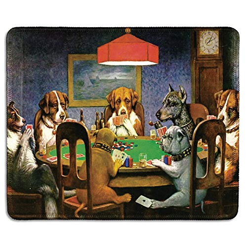 dealzEpic - Art Mouse Pad - Natural Rubber Mouse Pad w/Printing of Dogs Playing Poker by Cassius Marcellus Coolidge - Stitched Border - 9.5x7.9 inches
