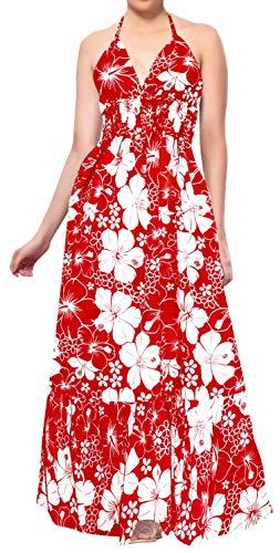 LA LEELA Hibiskus floral Bedruckte V-Ausschnitt Pailletten Arbeit Lange Schlauchkleid Valentinstag Rot_F148 DE Größe: 32 (XS) - 44 (L)