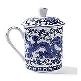 ufengke Jing Dezhen Tazza da tè Porcellana Blu E Bianca, Motivo Drago Blu, Tazza da tè Cinese con Coperchio, per Regalo, La Famiglia E Ufficio -500Ml