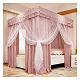Bed Canopy Blue and Pink Bed Canopy Curtains, Luxury Four- Corner Column Bunk Bed Curtains are Available in All Seasons, for 1.5m/1.8m/ 2m Double Bed Cover (Color : Pink, Size : 150x200x200cm)