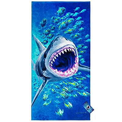 Extreme Shark Beach Towel 30 x 60 inch 100% Cotton - Design by Royce - Great White Shark Attack