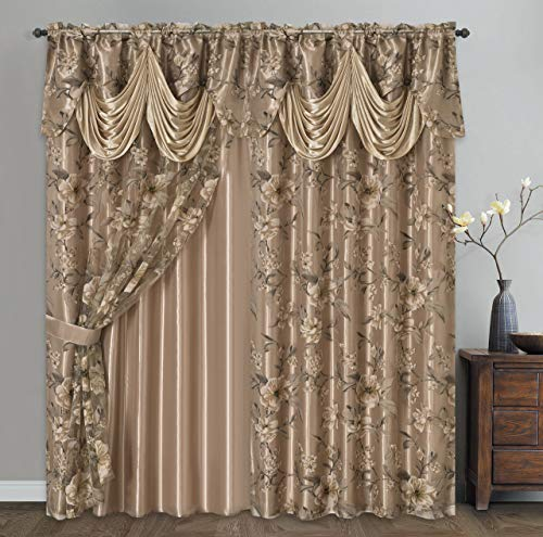 Roman Romance. Burnt-Out Printed Organza Window Curtain Panel Drape with Attached Fancy Valance and Taffeta Backing (Sand, 55 x 84 inches + Attached Valance x 2pcs)