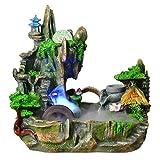 Liutao Piedras y Cristales de mar Fuente de Escritorio Cascada de Resina Meditación Zen Cascada Decoración del hogar (Cambio de iluminación LED) Piedras y Cristales de mar
