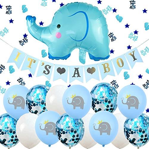 ENSTAB Babyparty Deko Junge It's A Boy Girlande Elefant Luftballons Blau mit It's A Boy Konfetti...