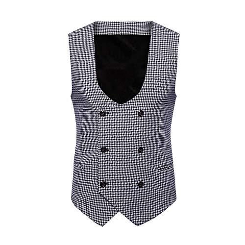 KPILP Men Fashion Herbst Winter Plaid Übergröße Baumwolle Knopf beiläufiger Druck ärmellose Jacke Mantel britischen Anzug Weste Bluse(Schwarz, L)