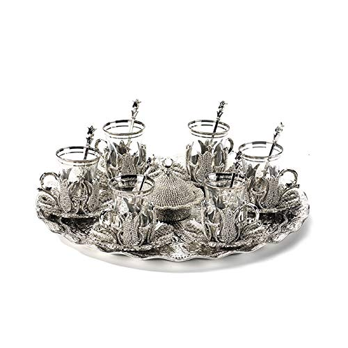 W.Z.H.H.H Tetera de Plata Color de té Plateado Taza de té Cristal Recubierto de Cintura Delgada Café de Agua Conjunto de té de Agua Sex Bandeja