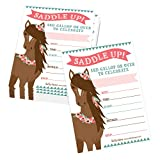 25 Pony Birthday Party Invitation, Horse Farm Barn Little Girl Invite, Cowgirl Western Rodeo Spirit Kids Themed Bday Supply Idea, Animal Modern Feathers Printed or Fill in The Blank Card