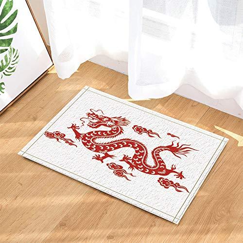 SRJ2018 Rote Fensterblume Handwerk Papier-Schnittmuster Chinesischer Drache Super Absorbent, Rutschfeste Matte oder Fußmatte, weich und bequem