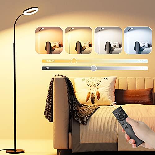 Lámpara de Pie GolWof 12W Luz de Piso con Control Remoto y Táctil, 6 Temperaturas de Color y 6 Brillos Ajustables, Temporizador Lámpara Moderna para Salón Dormitorio Oficina Hotel - Negro