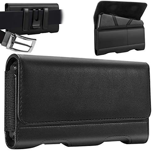 Mopaclle LG G6 Holster Case, Premium Leather Belt Clip Pouch with ID Cards Holder for LG G6,LG G5, LG K10, LG K8 ,LG K7, LG K20 V, LG Q6, LG V5, LG Grace, LG X Power (Fit Phone w/Thin Case On) Black