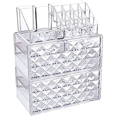Ikee Design Diamond Pattern Jewelry & Cosmetic Storage Display Boxes 3 Pieces Set