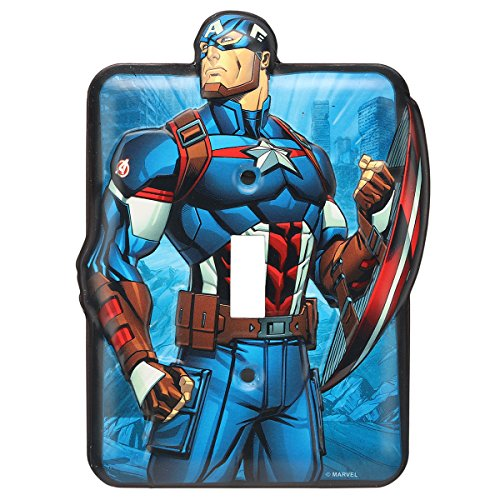 Open Road Brands Marvel Captain America Tin Metal Light Switch Plate - an Officially Licensed Product Great Addition to Add What You Love to Your Home/Garage Decor