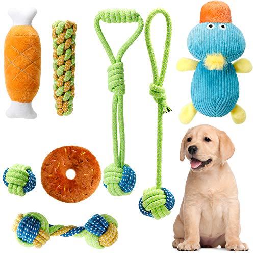 Homealexa Hundespielzeug Set, 8er Pack Dauerhaft Welpenspielzeug aus Natürlicher Baumwolle, Hund Seil Kauspielzeug und Quietschende Plüsch Hundespielzeug, geeignet für kleine und mittelgroße Hunde