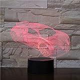 Wfmhra Nueva lámpara de Mesa de luz Nocturna 3D Luminaria Cool Racing Car Fans Collection Regalos para niños Amigos Iluminación Linterna Led